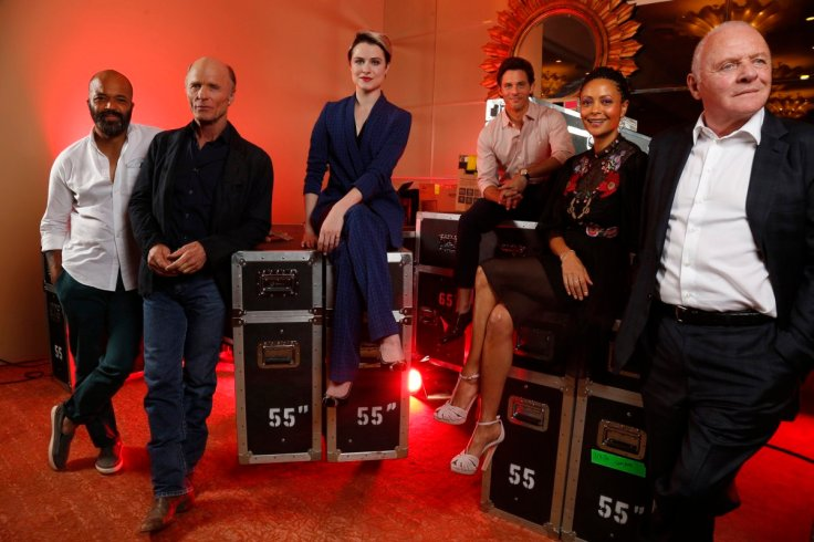 "Jeffrey Wright, left, Ed Harris, Evan Rachel Wood, James Marsden, Thandie Newton and Anthony Hopkins, right, of HBO's new series ""Westworld."" (Genaro Molina/Los Angeles Times)"
